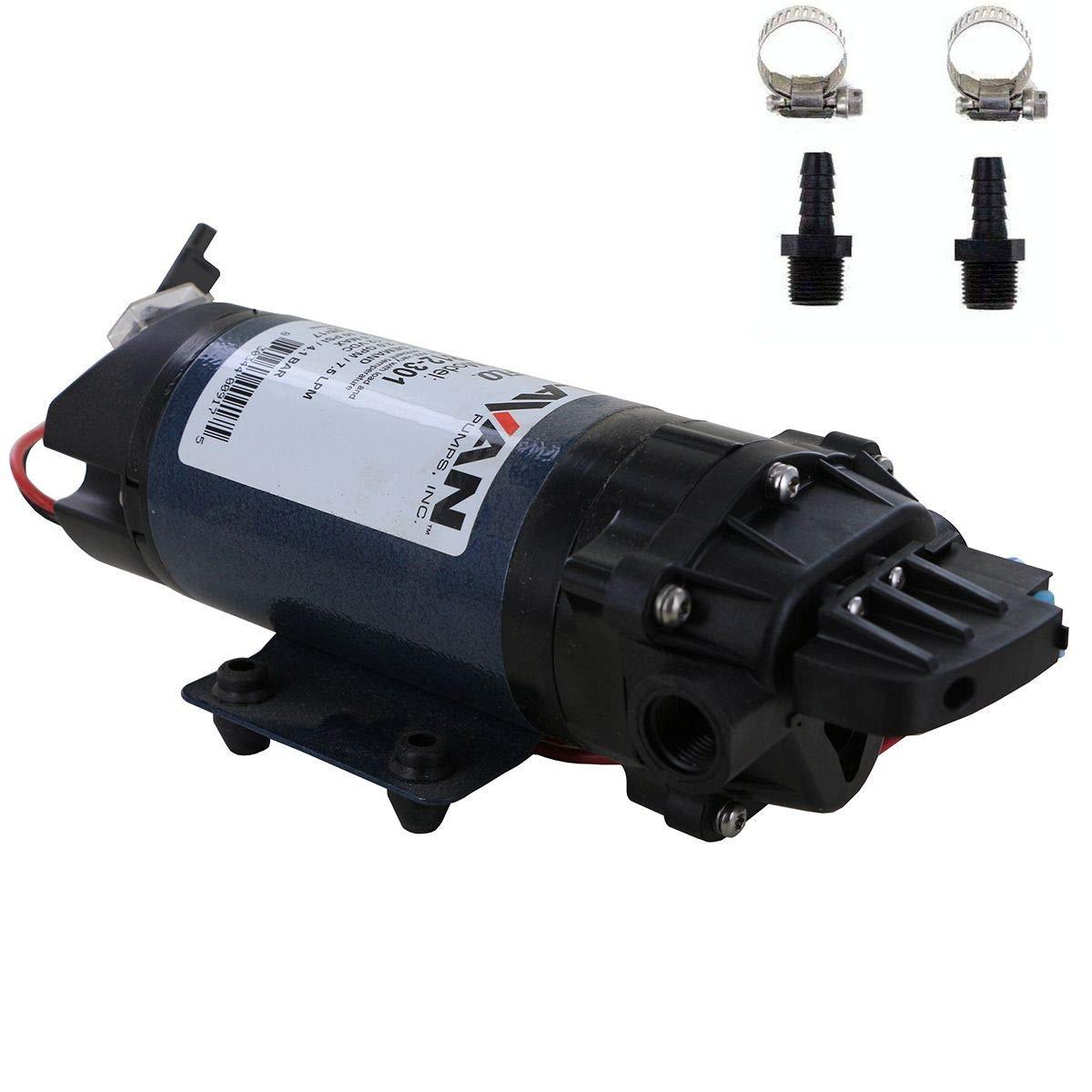 Delavan 7812-301 PowerFlo 12V Demand Diaphragm Pump with Male 3/8'' Hose Barb Kit (Bundle, 2 Items)