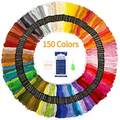 Premium Embroidery Floss 150 Skeins SOLEDI Rainbow Colors Embroidery Thread Cross Stitch Threads for Friendship Bracelets Comes With 23 pcs Embroidery Tools