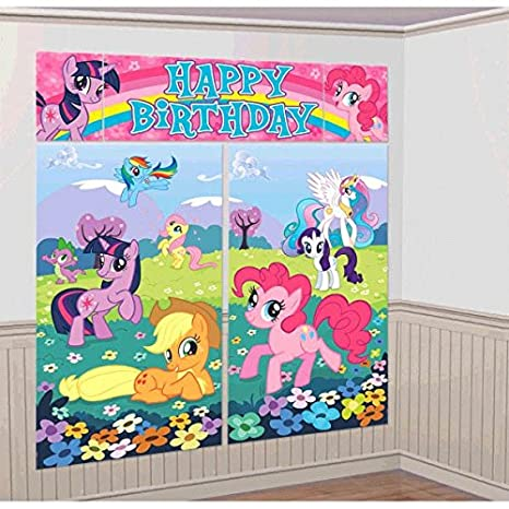 Image Unavailable Not Available For Colour My Little Pony Giant Scene Setter Wall Decorating Kit Birthday Party