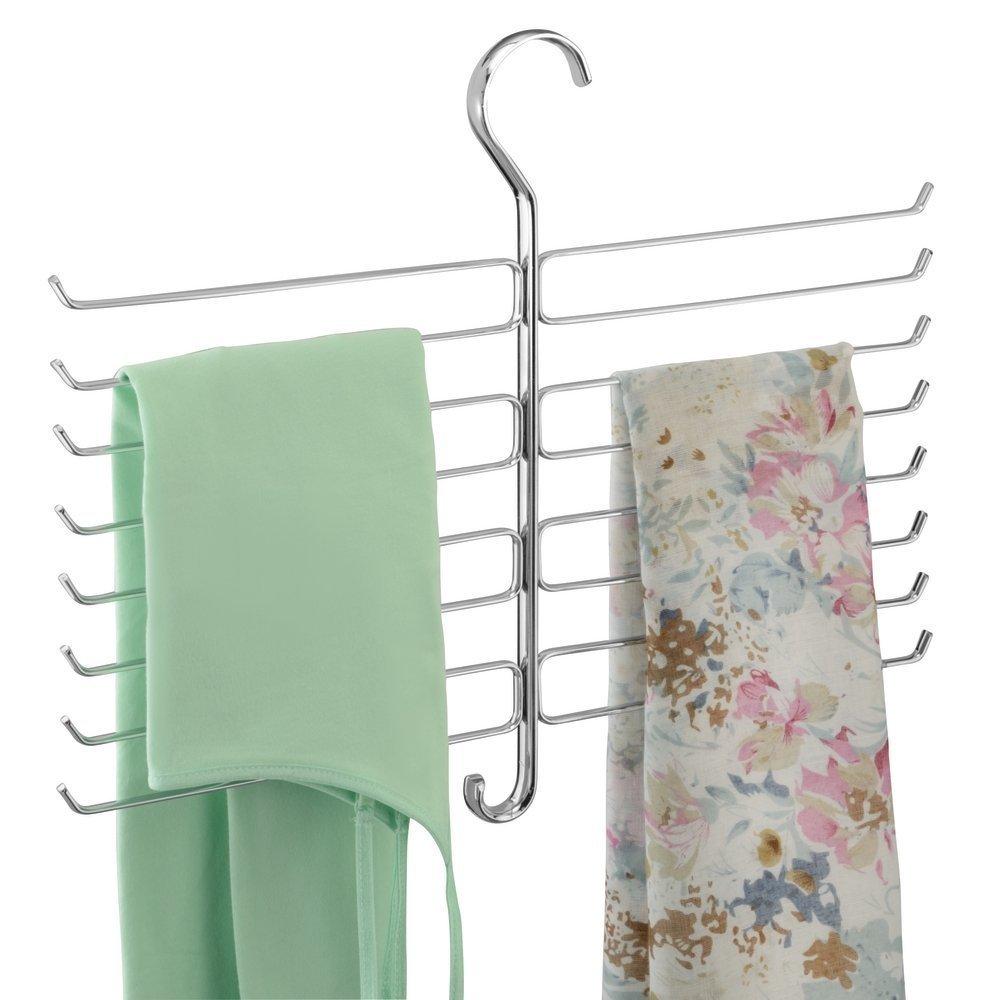 mDesign No Wrinkle Tiered Scarf, Pashmina, Tie Hanger Closet Organizer - Chrome MetroDecor 0787MDCO