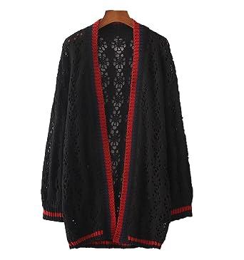 c2733e84cee763 CoCo Fashion 2017 Casual Damen Strickjacke Cardigan Offener V-Ausschnitt  Loose Fit Blusen Knit Top