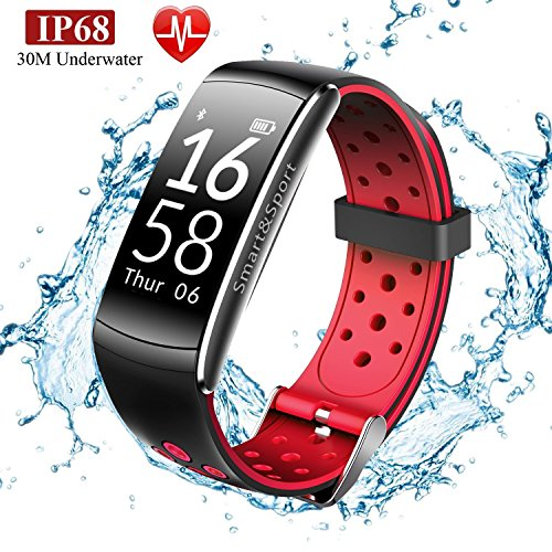 Fitness Tracker, 30 Meters IP68 Swimming Waterproof Activity Tracker with Heart Rate Pedometer Bluetooth Distance Calories Counter Sleep Monitor SportsTracker etc for IOS &Android Smart Phone