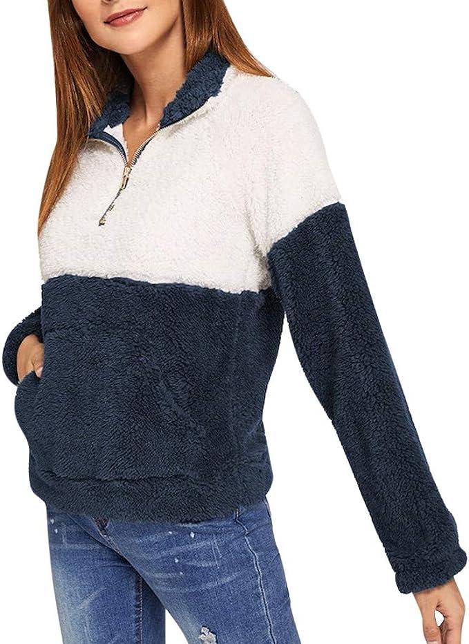 MISSWongg_Ropa para Mujer Poliéster Stitching Color Felpa Camiseta de Manga Larga Cremallera Lapel Ropa de Abrigo Espesar Fabric Cálido y Cómodo Sudaderas Bolsillos exquisitos Otoño Invierno Tops: Amazon.es: Ropa y accesorios