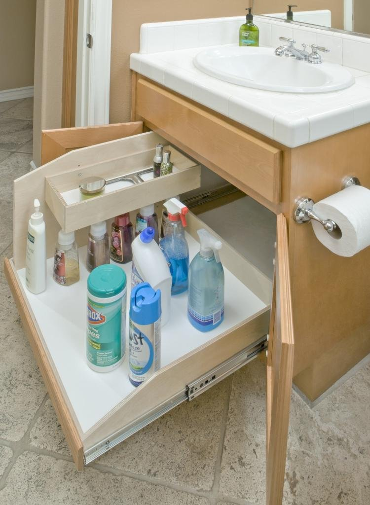 "Slide-A-Shelf SAS-SI-SC-M, Made-To-Fit with Sink Caddy, Full Extension, 6"" to 36"" wide and 16 3/4'' to 24'' deep, Ready-to-finish Maple Fronts by Slide-A-Shelf"