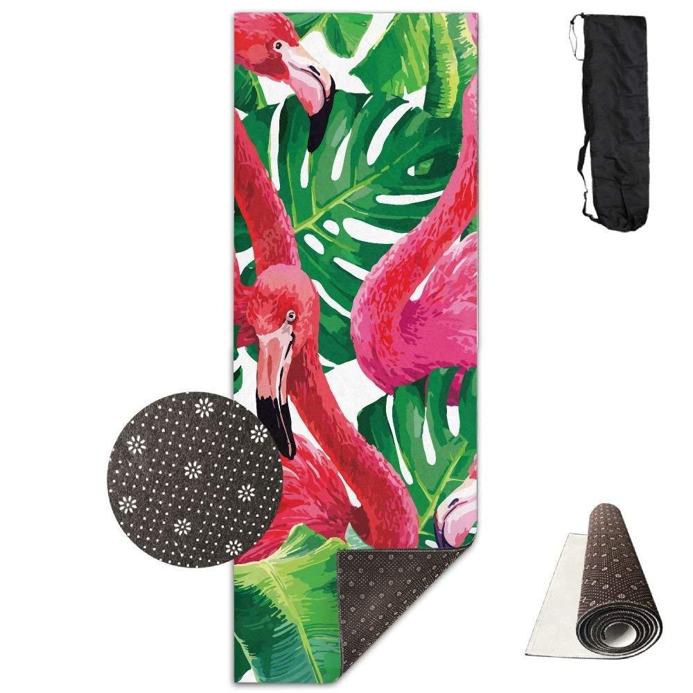 Hemp Palm Flamingo Deluxe,Yoga Mat Aerobic Exercise Pilates Anti-slip Gymnastics Mats by HOTSELL-Makemoney.forever (Image #1)