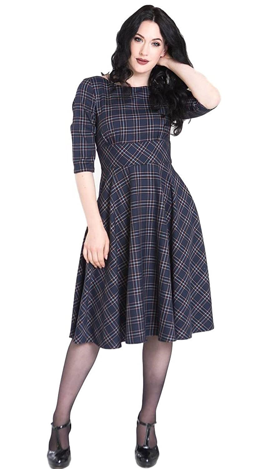 1950s Housewife Dress | 50s Day Dresses Hell Bunny Peebles Tartan 1950s Vintage Retro Dress $74.99 AT vintagedancer.com