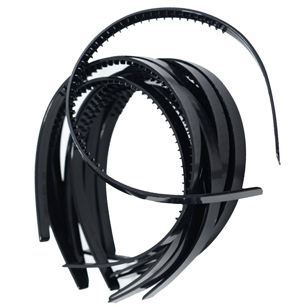 Dovewill 10 Pieces 10mm/0.4 Black Plastic Plain Flexible Alice Hair Bands Headbands