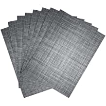 Benson Mills Tweed Woven Placemats, Nickel, Set of 8