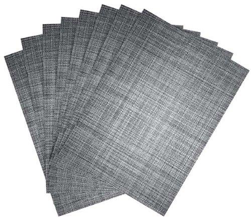Benson Mills Tweed Woven Placemats, Nickel, Set of 8 (Vinyl And Crate Barrel)