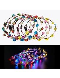 Kapmore 7PCS Led Flower Wreath Headband Luminous LED Flower Crown for Wedding Festival Christmas Halloween Party