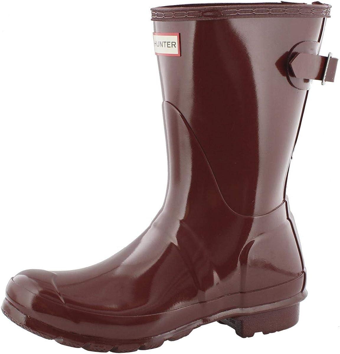 Hunter Boots Womens Original Back Adjustable Gloss Short Rain Boot Rmblng Red 7 Medium US