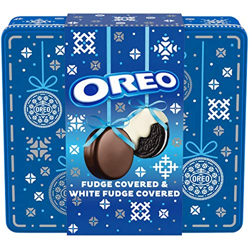 Oreo White Fudge Covered Chocolate Sandwich Cookies Holiday Gift Tin, Original Flavor Crème (24 Cookies Total)