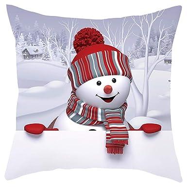 LUNULE Navidad Funda de Almohada de Sofá Navideño Funda de Cojín 3D Snowman Funda de Almohada Decorativa Feliz Navidad Throw Pillow Case Funda de ...