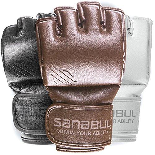 Sanabul New Item Battle Forged MMA Grappling Gloves 4 oz (Brown, Medium)