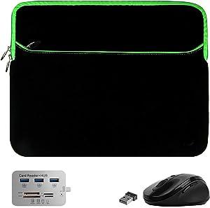 USB Hub, Mouse, Laptop Cover Case Sleeve for HP EliteBook 850 840 G7 G6 G5, x360 1040 1030 830 G7 G6 G3, ProBook 650 640 450 G7 (Black Green)