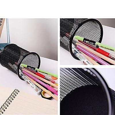 AKAZA Mesh Pen Holder Metal Pen Organizer Pencil Cup Medium,Black -Size 3Pack