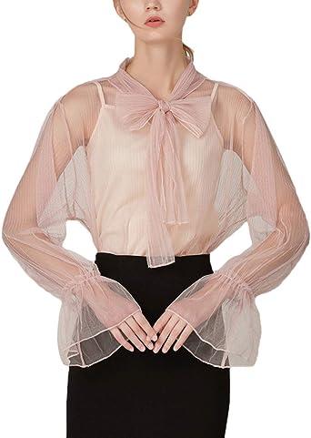 Mujer Blusas Y Chalecos Dos Piezas Set Manga Larga con Lazo Transparentes con Gasa Tops Elegantes Casuales Mujeres Moda Hermoso Fiesta Party Camisa Camisas Señoras (Color : Pink, Size : One Size):