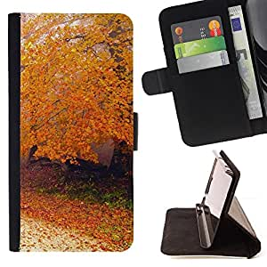For Sony Xperia M2 - Nature Autumn Tree /Funda de piel cubierta de la carpeta Foilo con cierre magn???¡¯????tico/ - Super Marley Shop -