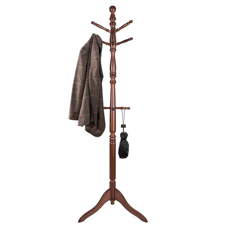 Vlush Free Standing Coat Rack, Wooden Coat Hat Tree Coat Hanger Holder Coat Hook Entryway Hall Tree with Solid Rubber Wood Base, 10 Hooks, Coffee by Vlush