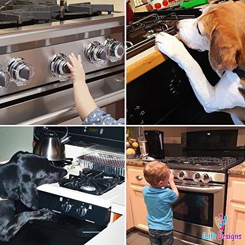 iLife Designs [4 Pack] Gas Stove Knob Covers, Child Toddler Baby Safety Lock Protection Covers for Oven Range Grill Knob, Removable Reusable Clear Design - 2018 Upgraded by iLife Designs (Image #6)