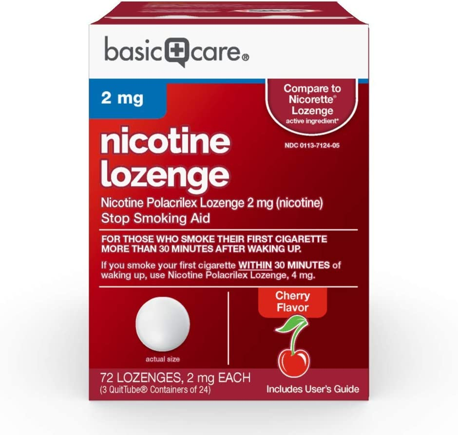 Amazon Basic Care Nicotine Polacrilex Lozenge, 2 mg (nicotine), Stop Smoking Aid, Cherry Flavor, 72 Count