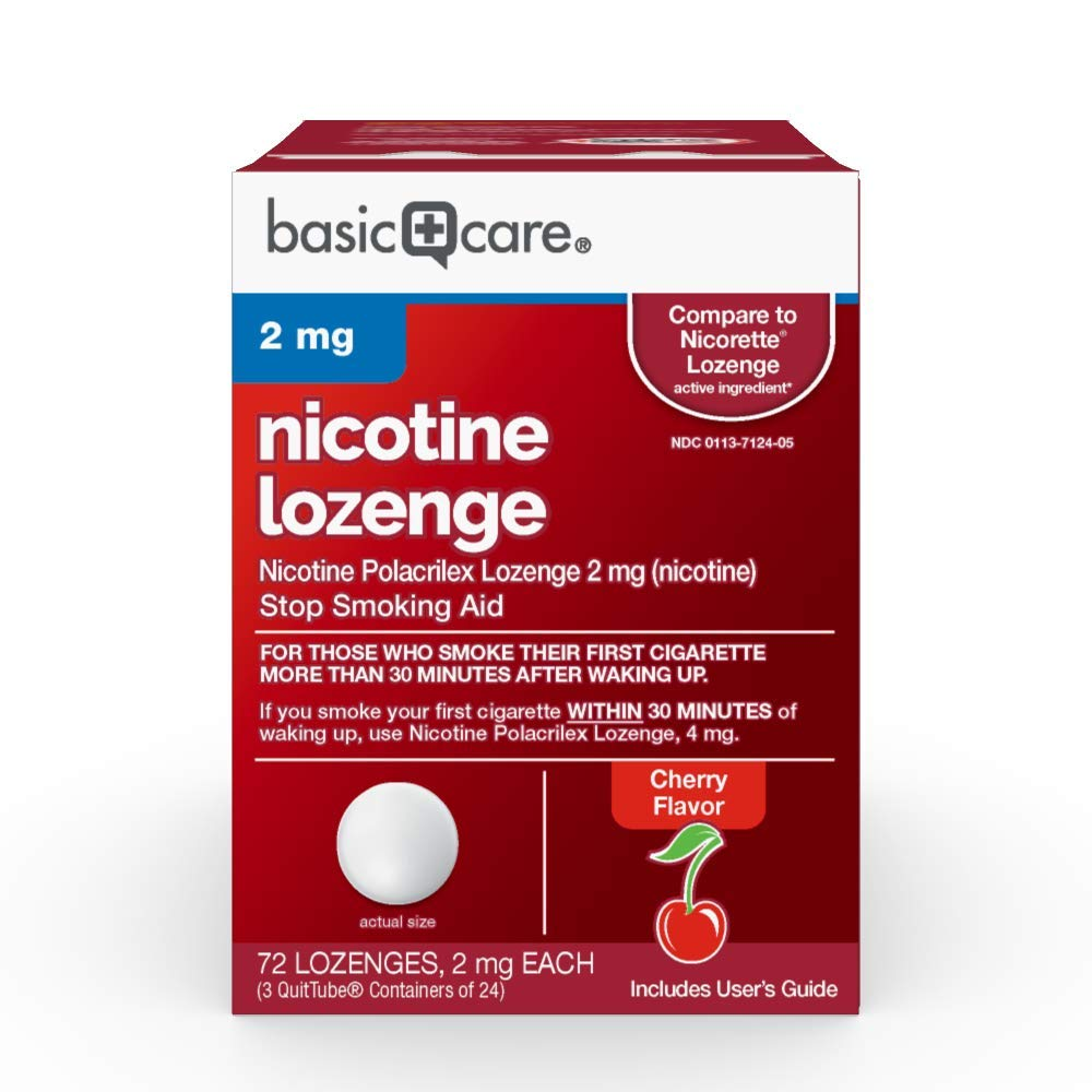Amazon Basic Care Nicotine Polacrilex Lozenge, 2 mg (nicotine), Stop Smoking Aid, Cherry Flavor; quit smoking with cherry nicotine lozenge, 72 Count