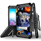 LG X Power, LG K6P, K210 Case, Trishield Durable Rugged Phone Cover With Detachable Lanyard Loop Belt Clip Holster And Built in Kickstand Card Slot - Solar Planet Galaxy