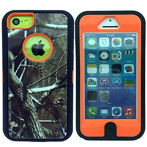 iphone 5c Case,Kecko®Defender Tough Armor Heavy Duty Hard Dual Layer Weather and Water Resistant Tree Forest Camo Hybrid Case with Camouflage Woods Design for iphone 5C W/Built-in Screen Guard