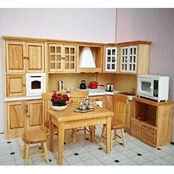 Doll house miniature wooden kitchen furniture set 1:12 scale