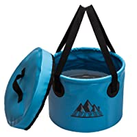 Ruipoo Collapsible Bucket Camping Water Storage Container with Lid Portable Folding Wash Basin for Traveling Hiking Fishing Boating Gardening