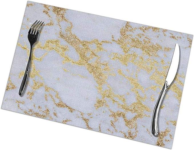 6 Sets de Table + Chemin de Table, Noir//Marron Pauwer Sets de Table en Vinyle Lot de 6 et Un Chemin de Table pour Table de Cuisine napperons de Table lavables antid/érapants