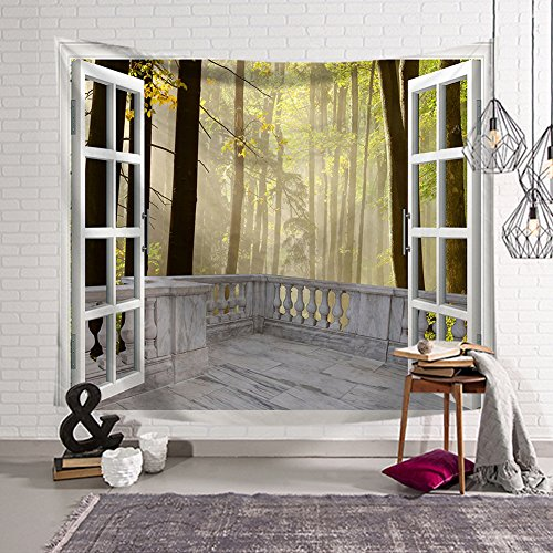 (QCWN House Decor Tapestry Wall Hanging Nature Scenery Modern Landscape Fake Window Design 3D Print Wall Decor For for Bedroom Living Room Dorm (1, 59Wx51L) )