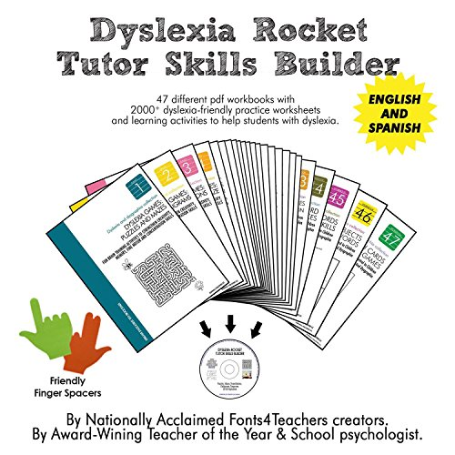 Dyslexia Rocket Tutor Skills Builder CD-ROM + Finger Spacers | Dyslexia Games | 47 Printable Workbooks | +2000 Practice Worksheets | For Kids from 4 to 10 Years.
