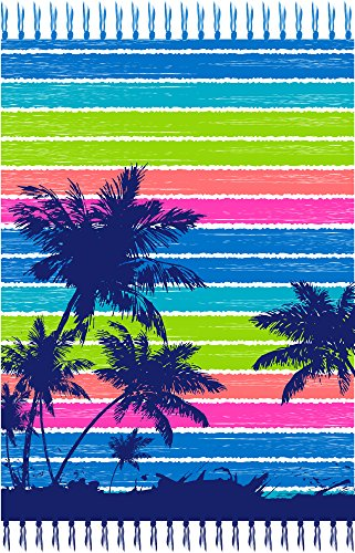 JGR Copa Palm Tree Oversized Double Beach Towel with Fringe