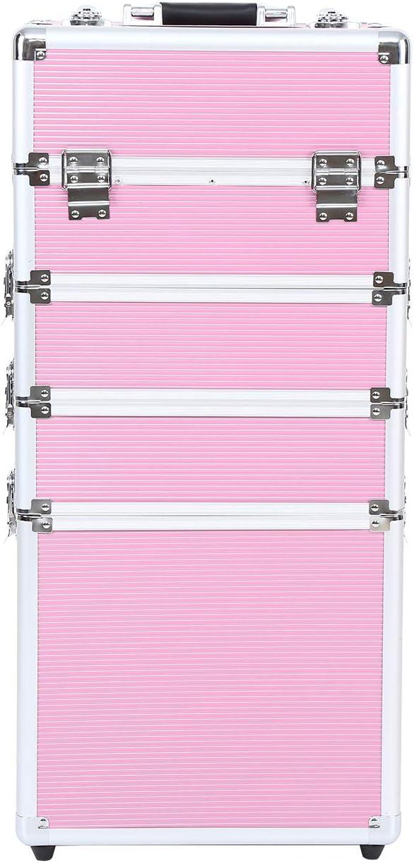 Ridgeyard 5 en 1 universal beauty case trolley Maletín para maquillaje Estuche de maquillaje Neceser de viaje-Pink(Rosa)