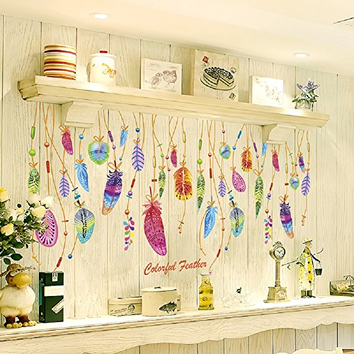 SWORNA Nature Series SN-87 Colorful Feather Decoration Vinyl Removable DIY Wall Art Mural Sticker Decor Decal - Lady Bedroom Office Sitting Living Room Hallway Kitchen Glass Door Window 20