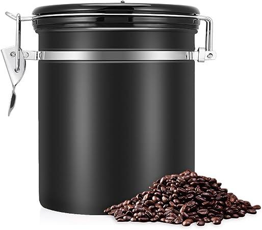 Schwarz 1.5 Liter f/ür Kaffeebohnen Edelstahl Aromadose Vorratsdose Vakuum Dose Luftdichter Kaffeebeh/älter Tee oder Zucker Edelstahl-Kaffeedose