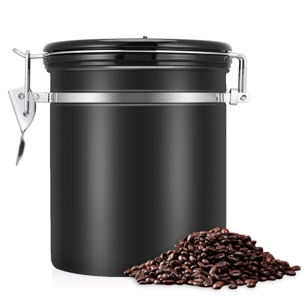 EECOO Coffee Container Airtight 450g Coffee Beans Canister Stainless Steel Vacuum Seal Storage Jar with Fresh Calendar,1500ml Black xunooo-eu