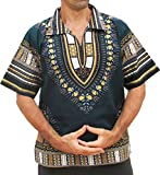 RaanPahMuang European Collar Short Sleeve Afrika Print Shirt African Dashiki Art, X-Large, Green Brown