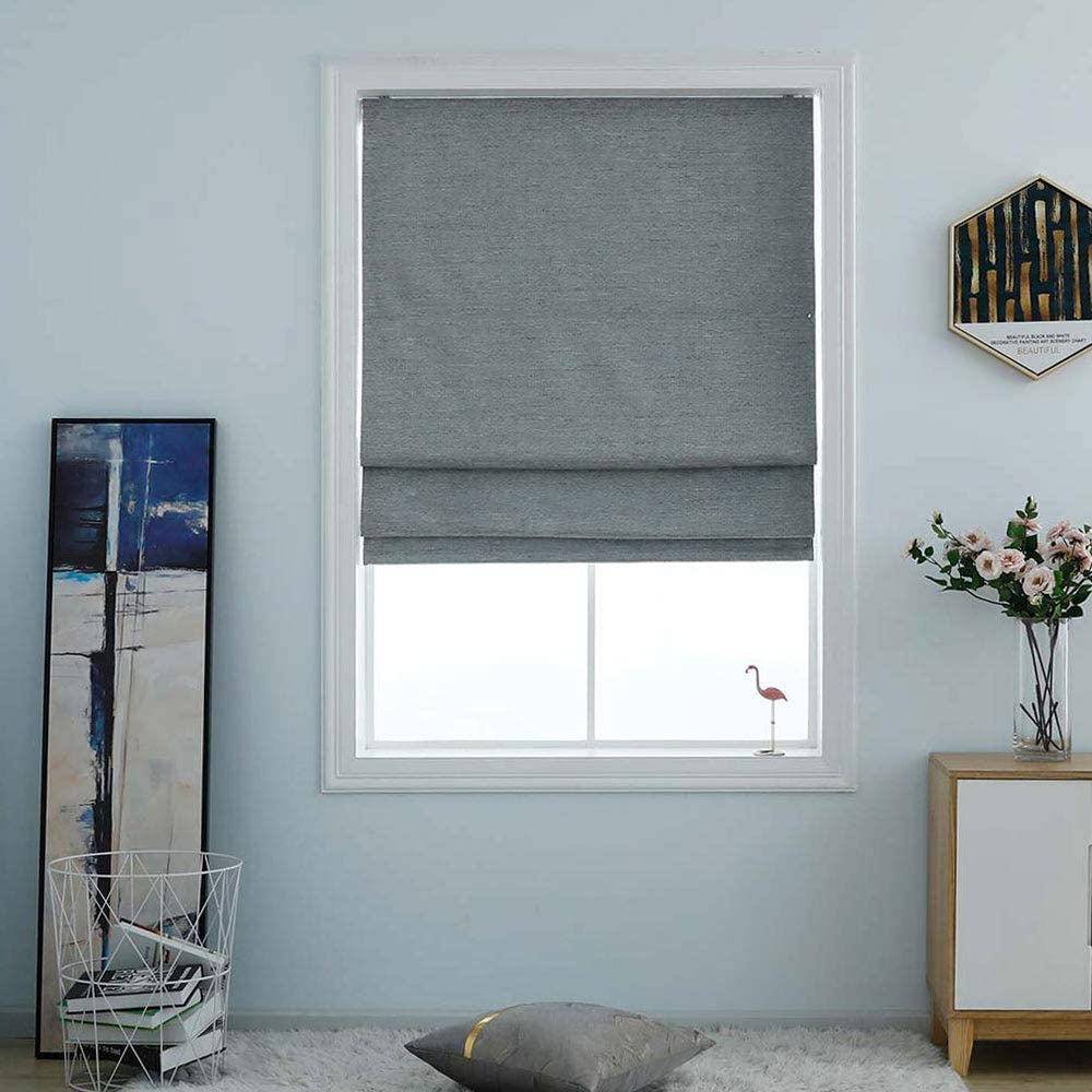 "Everyday Celebration Washable Room Darkening Cordless Roman Shades for Windows, Double Tone Color Jacquard Textured Woven Roman Blind for Living Room/Nursery/Bedroom 29"" W × 64"" L Pewter"