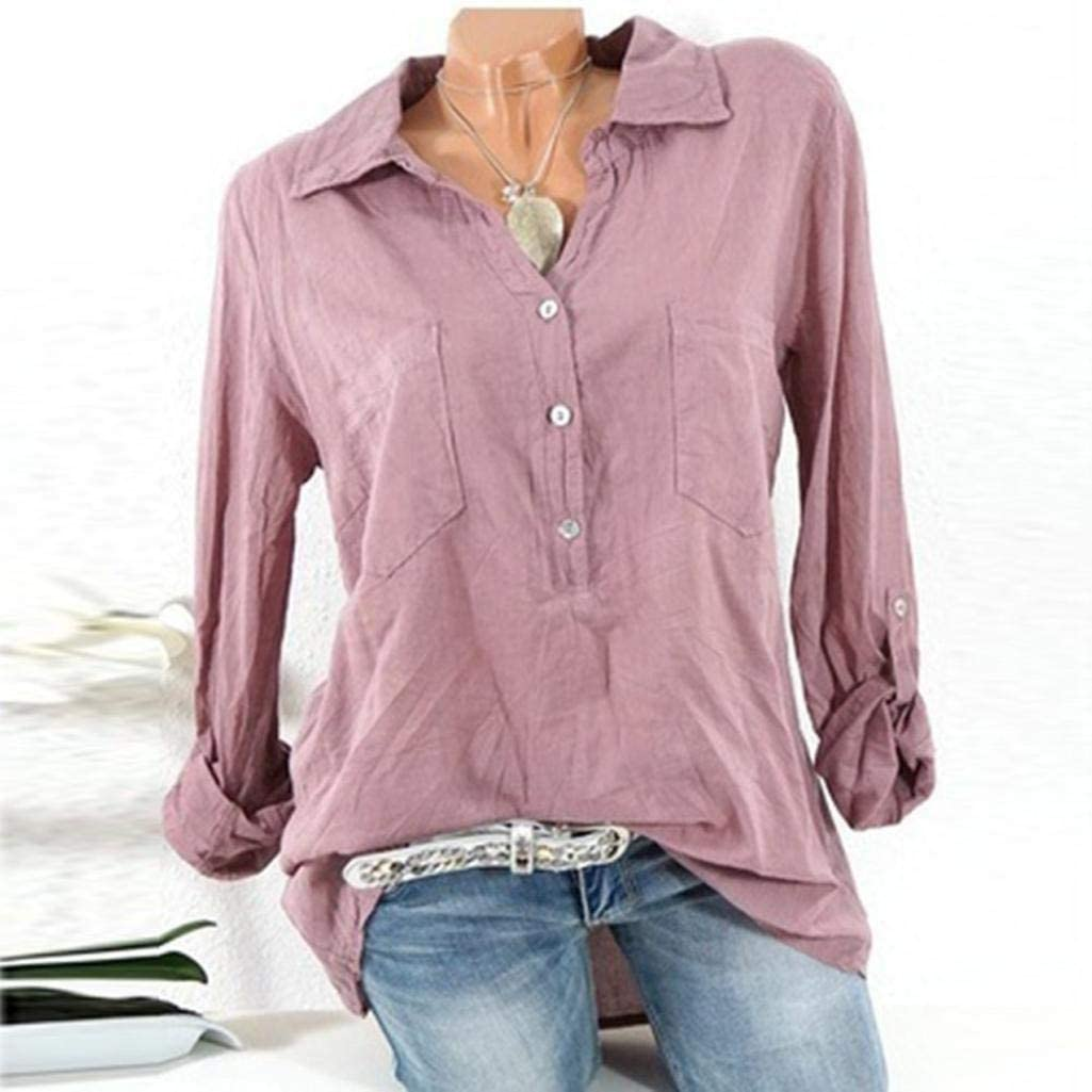 Lelili Women Button Down Shirt Plus Size Solid Roll up Long Sleeve Turn Down Collar Loose Fit Henley Shirt Casual Blouse Tops