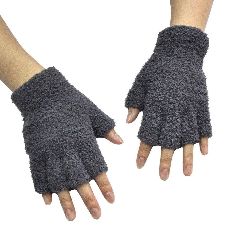 Unisex Fingerless Gloves, Alalaso Fleece Half-Fingers Fuzzy Adult Warm Winter Mitten(Grey)