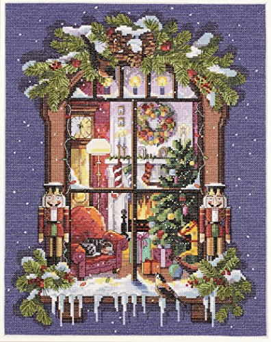 Janlynn 14 Count Christmas Window Picture Counted Cross Stitch Kit, 11 by 14-Inch