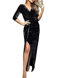 Re Tech UK Womens Satin Long Sleeve Wrap Over Dress Tie Waist Curved Hem Fashion Party Elegant