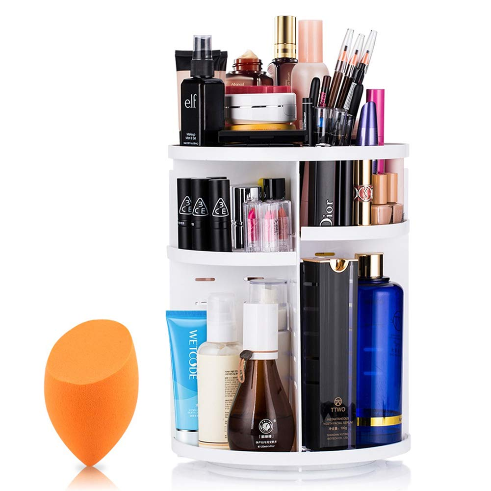 Mokaro 360 Degree Rotating Makeup Organizer for Mothers Day Gifts Extra Large Capacity Adjustable Multifunctional Cosmetic Storage Box for Skin Care Products Makeup Sponges