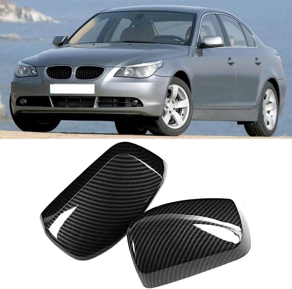 Qiilu 2pcs couverture de r/étroviseur de voiture remplacement lat/éral de texture ABS de fibre de carbone appropri/é pour E60 2004-2007