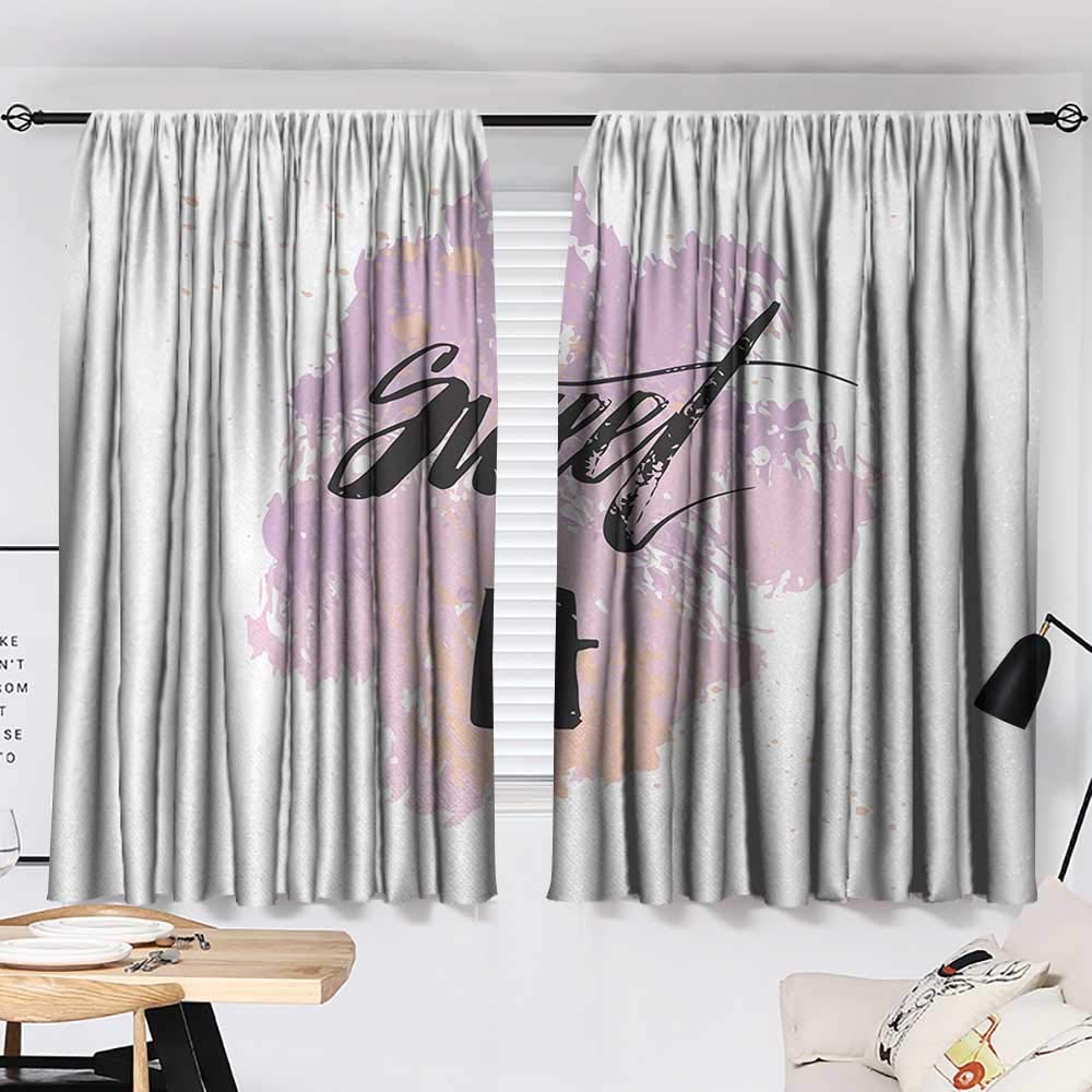 Jinguizi 17th Birthday Curtain Panels Abstract and Grunge Style Backdrop with Sweet Seventeen Themed Image top Darkening Curtains Lilac and Black W55 x L39 by Jinguizi (Image #2)