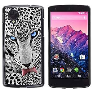 A-type Arte & diseño plástico duro Fundas Cover Cubre Hard Case Cover para LG Nexus 5 D820 D821 (Blue Eye Snow Leopard)