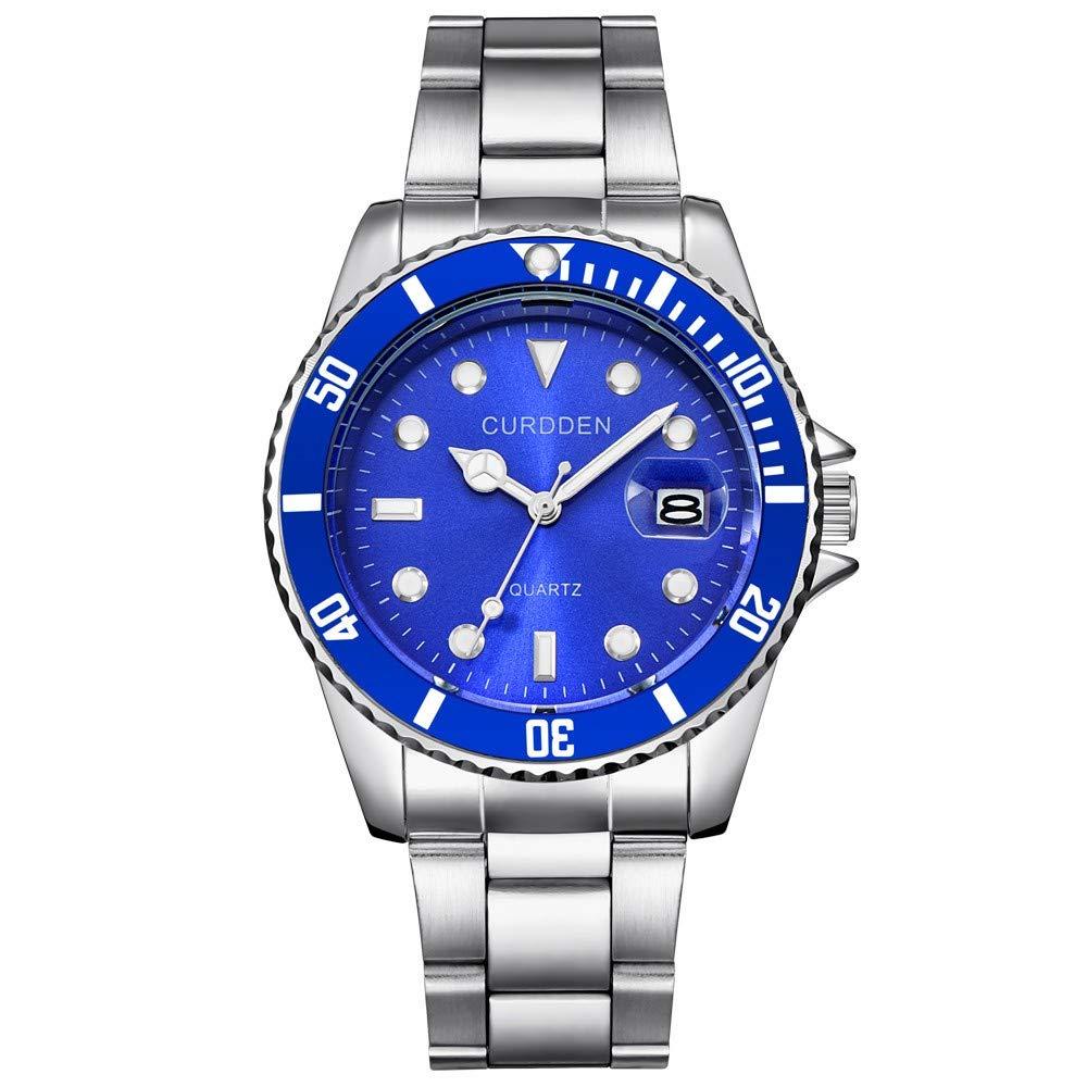 Obershein Men Fashion Military Stainless Steel Date Sport Quartz Analog Wrist Watch