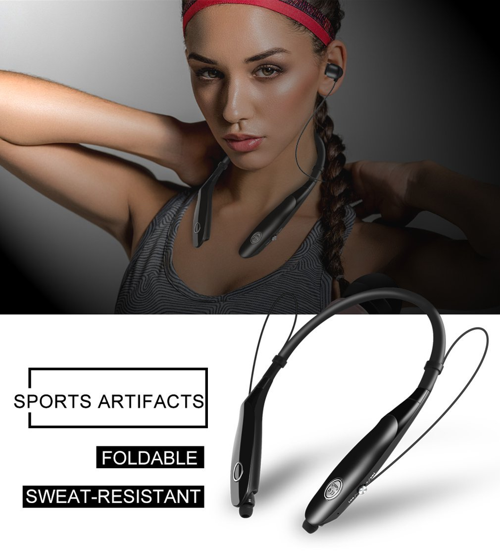 Etpark Bluetooth Headphone, Wireless Neckband Headset Stereo Noise Canceling Neck Hanging Earbuds Music Earphones with Mic Hands Free Call Sports/running/driving Magnetic Neckband Unique Cool Design